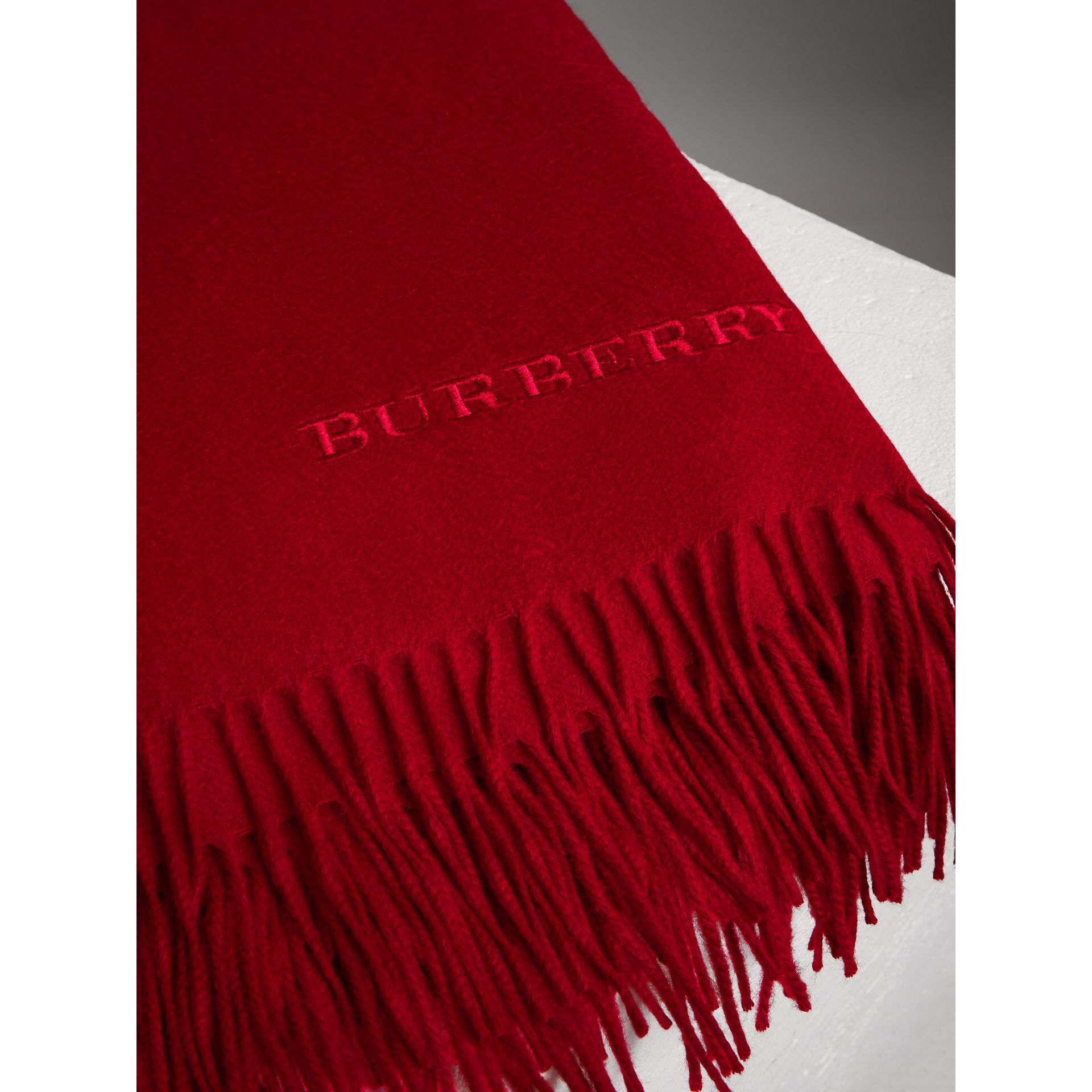 Cashmere Blanket in Parade Red | Burberry Singapore - gallery image 1