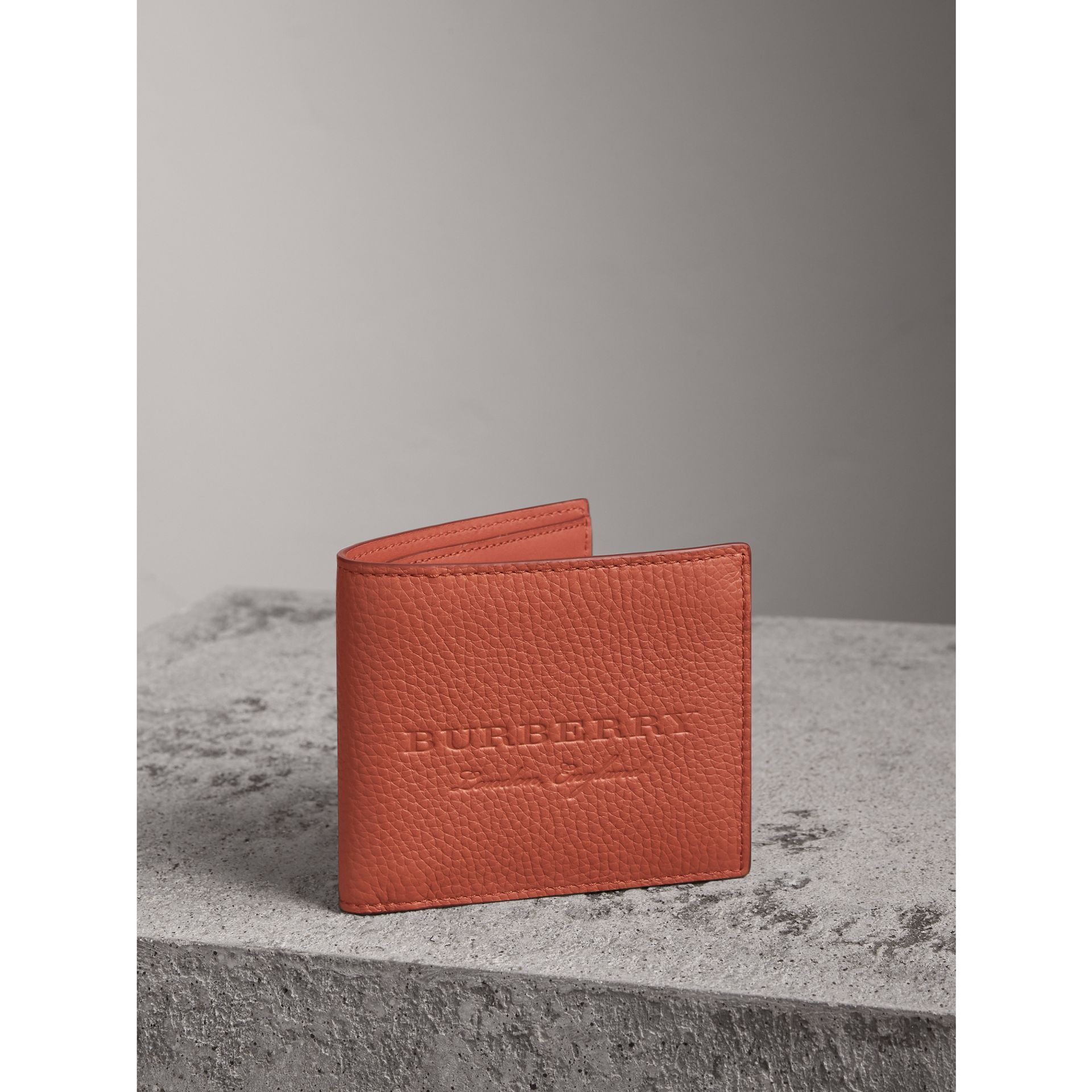 Embossed Leather Bifold Wallet in Chestnut Brown - Men | Burberry - gallery image 1