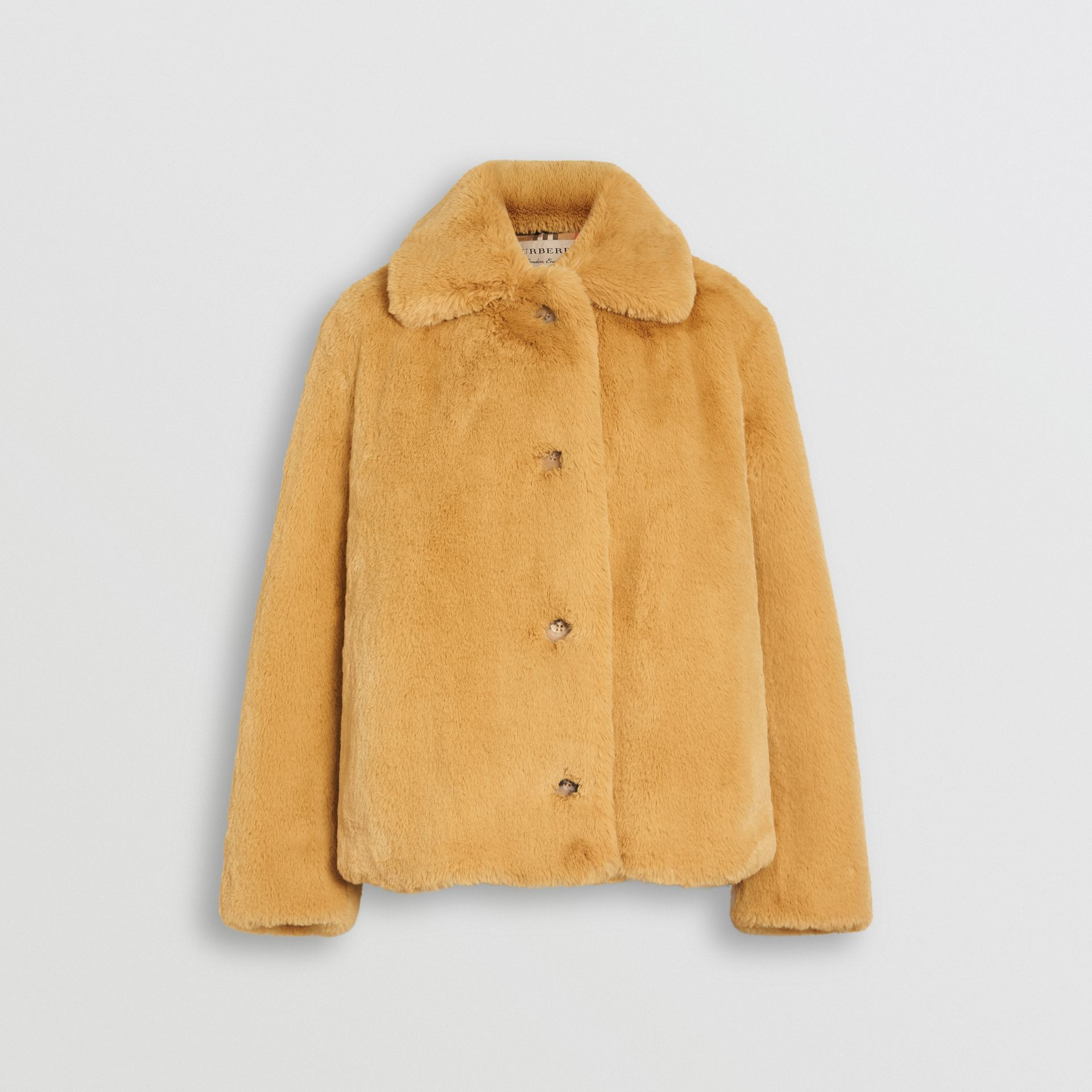 Faux Fur Single-Breasted Jacket in Ochre Yellow - Women | Burberry United Kingdom - gallery image 3