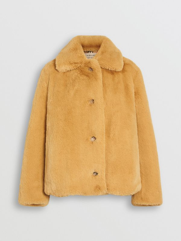 Faux Fur Single-Breasted Jacket in Ochre Yellow - Women | Burberry Australia - cell image 3