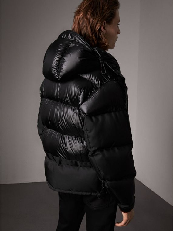 Oversized Down-filled Hooded Puffer Jacket in Black - Men | Burberry - cell image 2