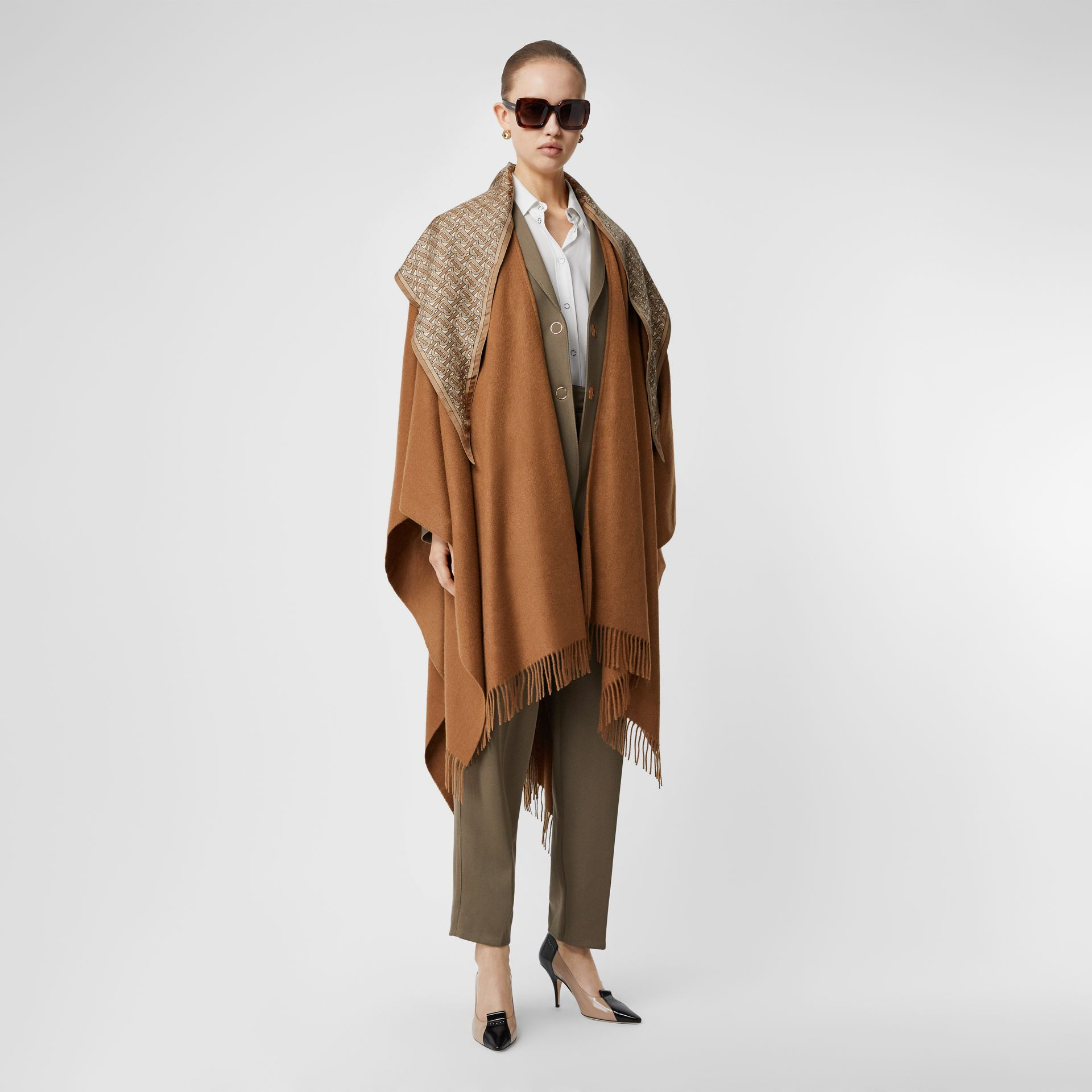 Detachable Monogram Print Scarf Cashmere Cape in Fern - Women | Burberry - gallery image 0