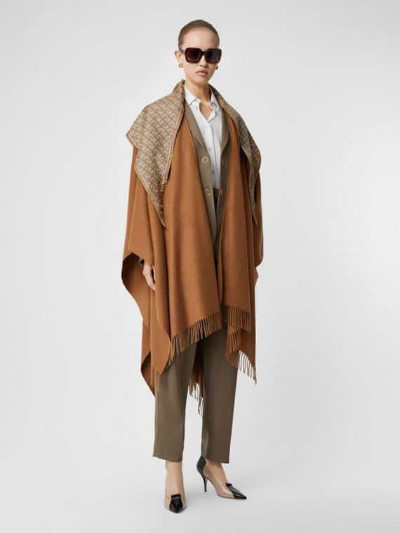 Detachable Monogram Print Scarf Cashmere Cape in Fern