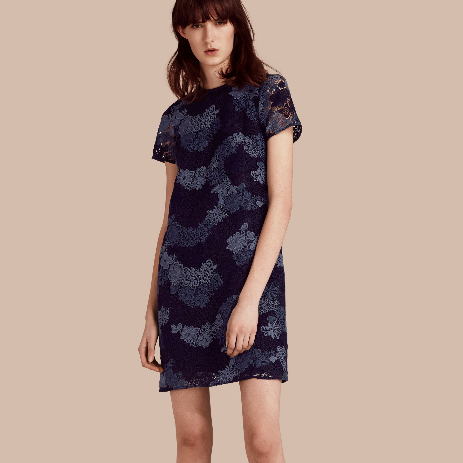 Ink blue Italian-woven Lace T-shirt Dress Ink Blue - gallery image 1