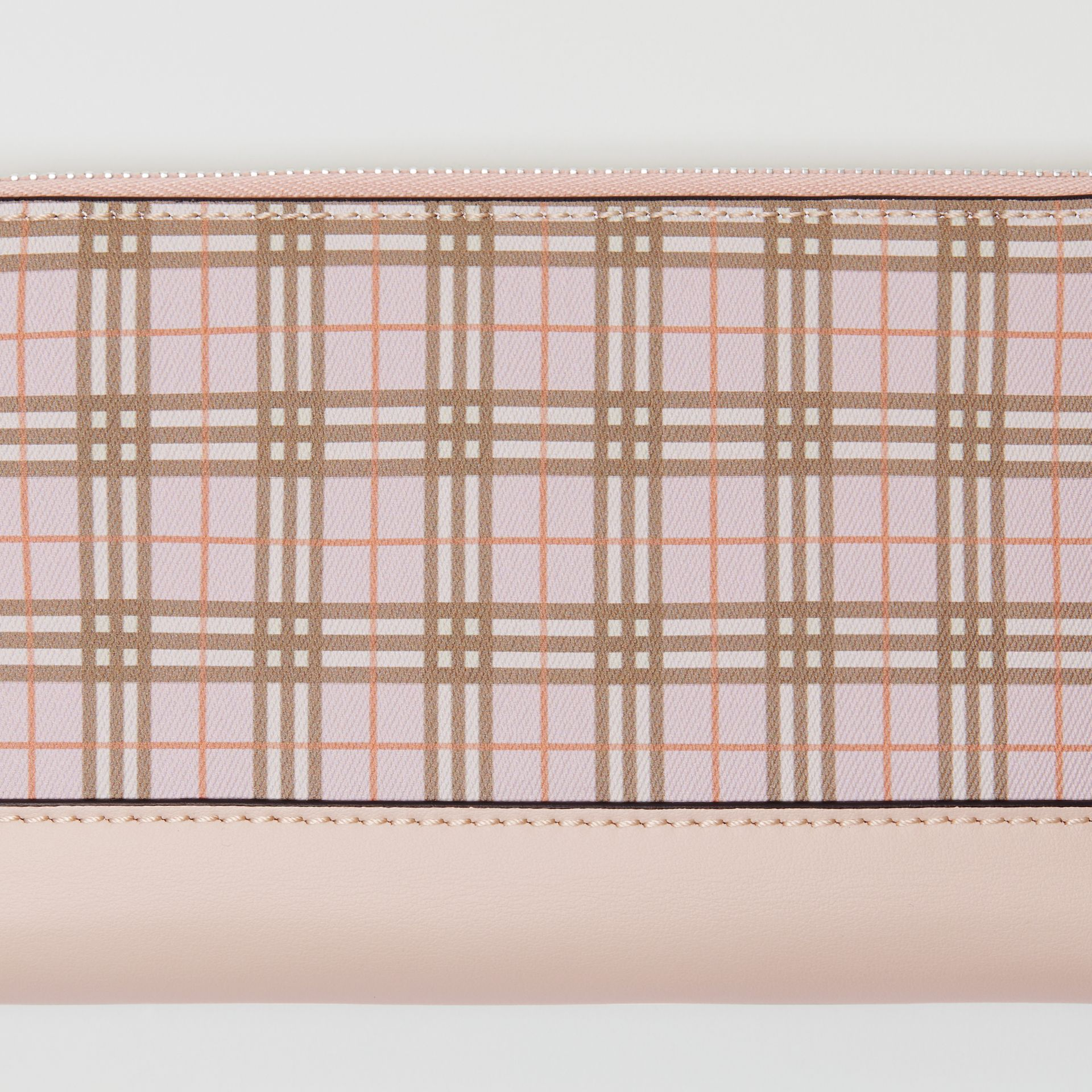 Small Scale Check and Leather Ziparound Wallet in Ice Pink - Women | Burberry - gallery image 1