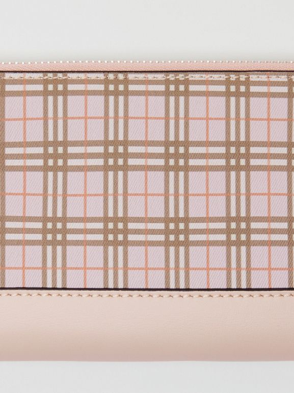 Small Scale Check and Leather Ziparound Wallet in Ice Pink - Women | Burberry Singapore - cell image 1