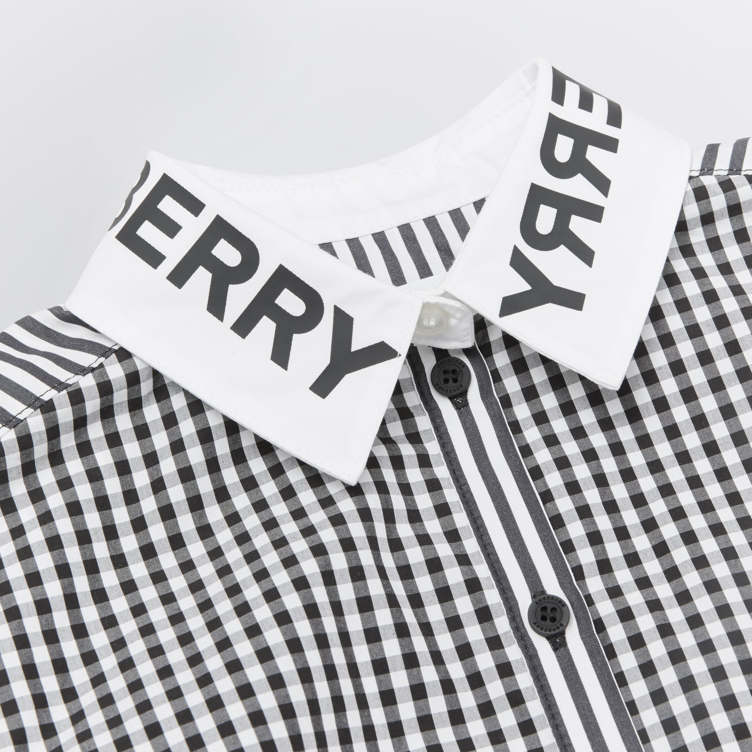 Logo Print Striped and Gingham Cotton Shirt Dress in Black | Burberry Singapore - 2