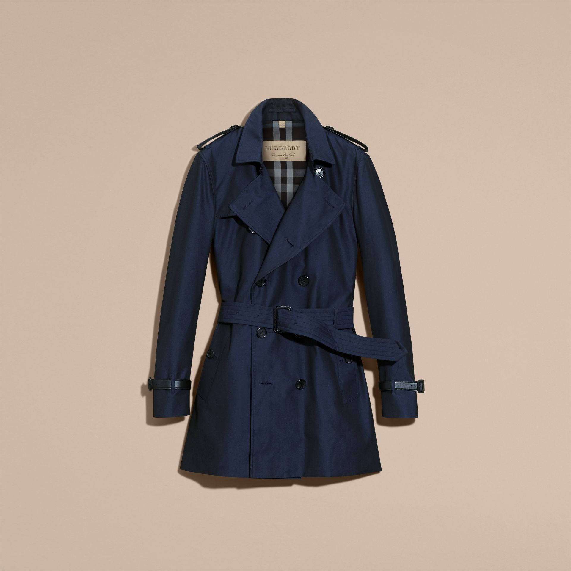 Flint blue Leather Detail Cotton Gabardine Trench Coat - gallery image 4