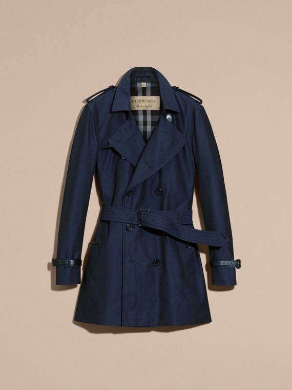Flint blue Leather Detail Cotton Gabardine Trench Coat - cell image 3