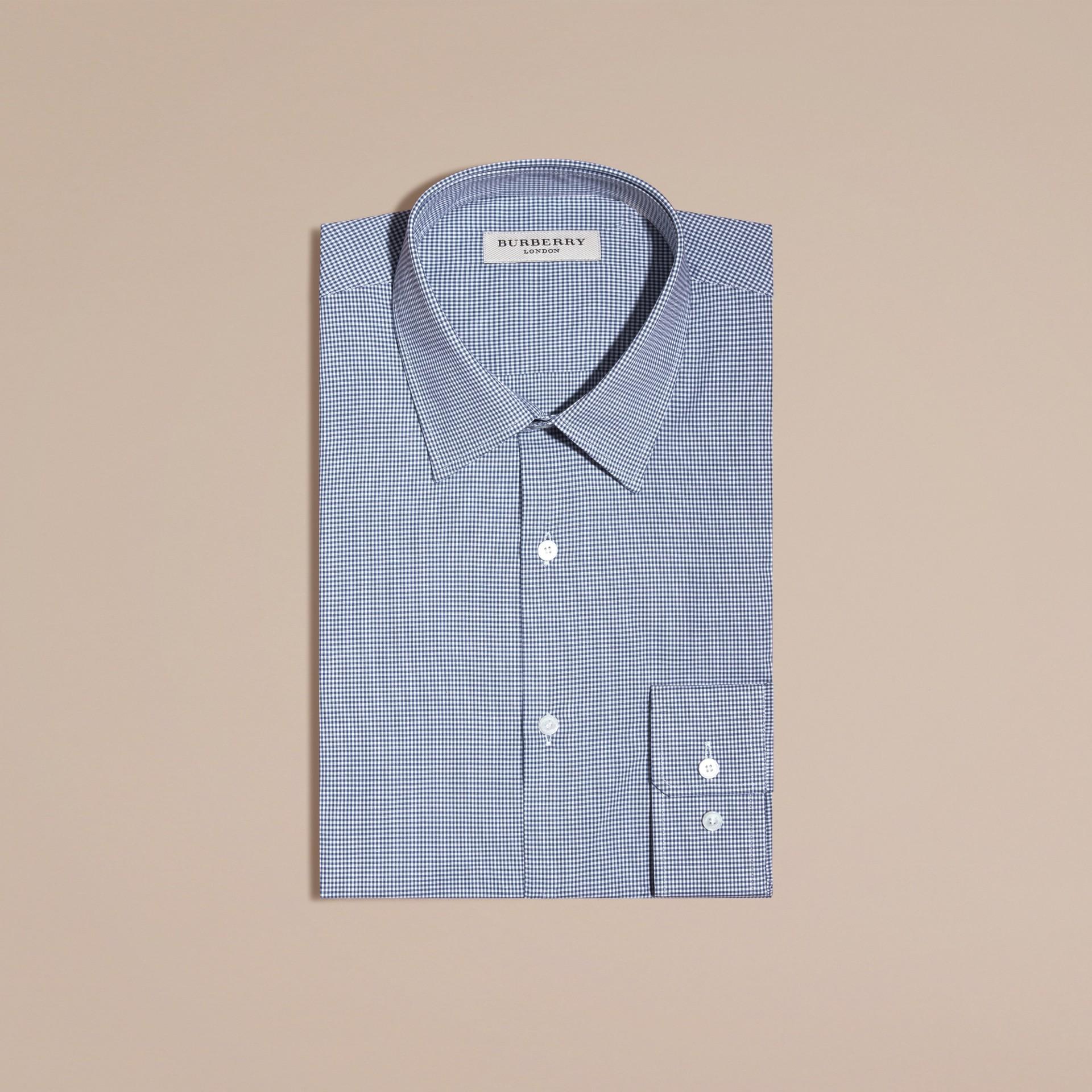 Blu impero scuro Camicia vichy sfiancata in popeline di cotone Blu Impero Scuro - immagine della galleria 1