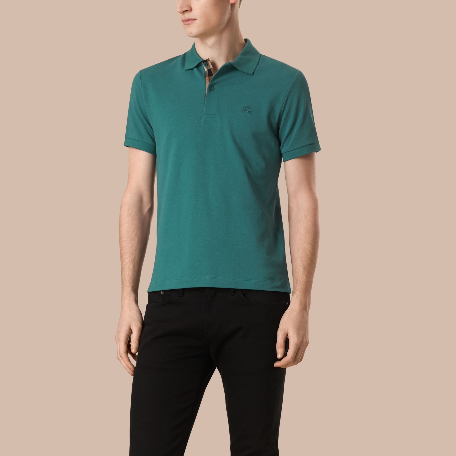 Opal green Check Placket Cotton Piqué Polo Shirt Opal Green - gallery image 1