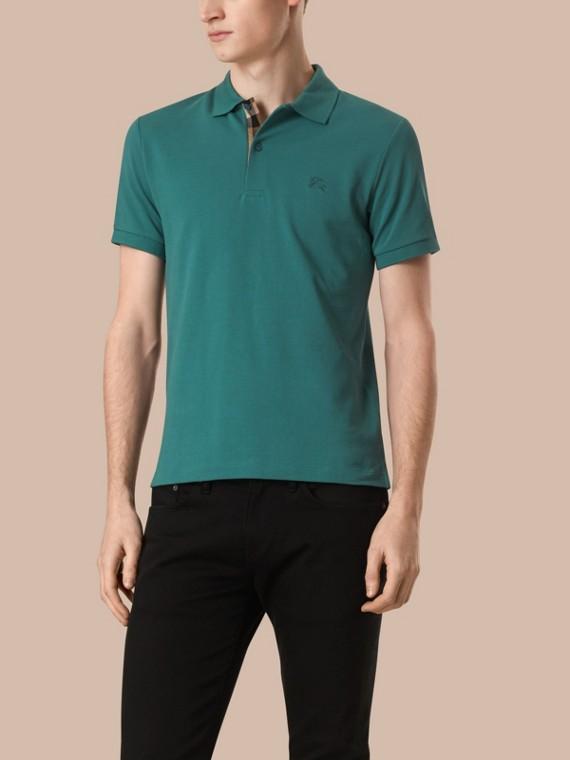 Check Placket Cotton Piqué Polo Shirt Opal Green