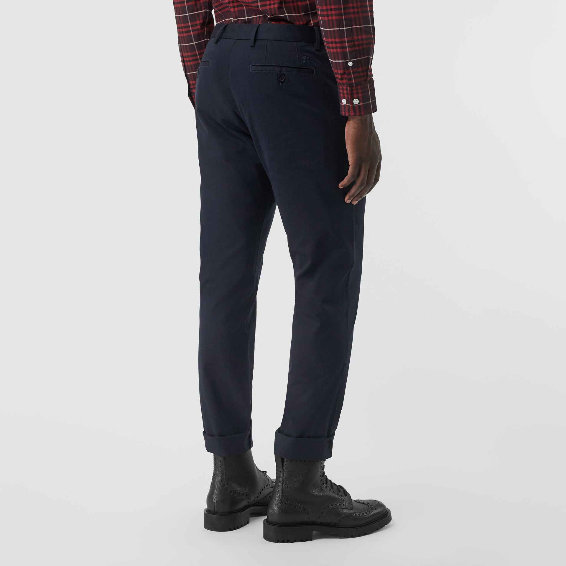 Slim Fit Cotton Chinos in Navy - Men | Burberry United Kingdom - gallery image 2