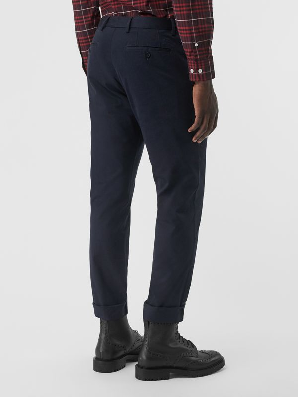 Slim Fit Cotton Chinos in Navy - Men | Burberry United Kingdom - cell image 2