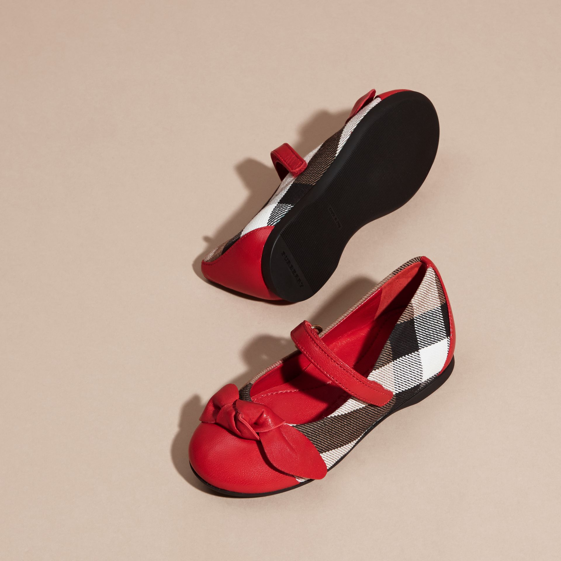 Leather and House Check Ballerinas in Parade Red | Burberry - gallery image 3