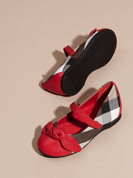 Leather and House Check Ballerinas in Parade Red | Burberry - cell image 2