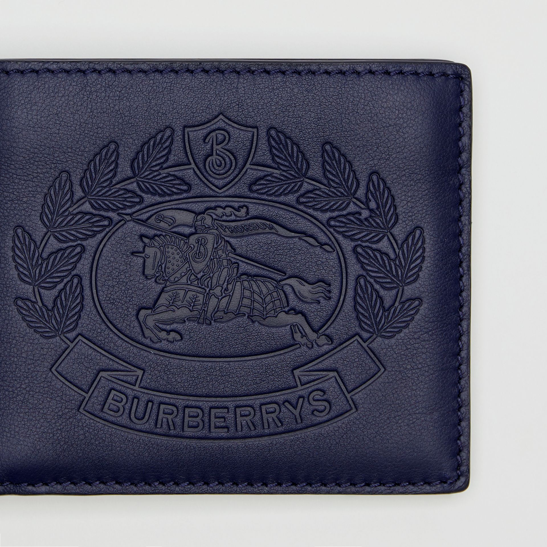 Embossed Crest Leather International Bifold Wallet in Regency Blue - Men | Burberry United Kingdom - gallery image 1