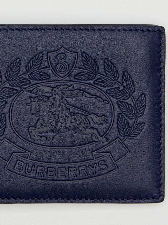 Embossed Crest Leather International Bifold Wallet in Regency Blue - Men | Burberry United Kingdom - cell image 1
