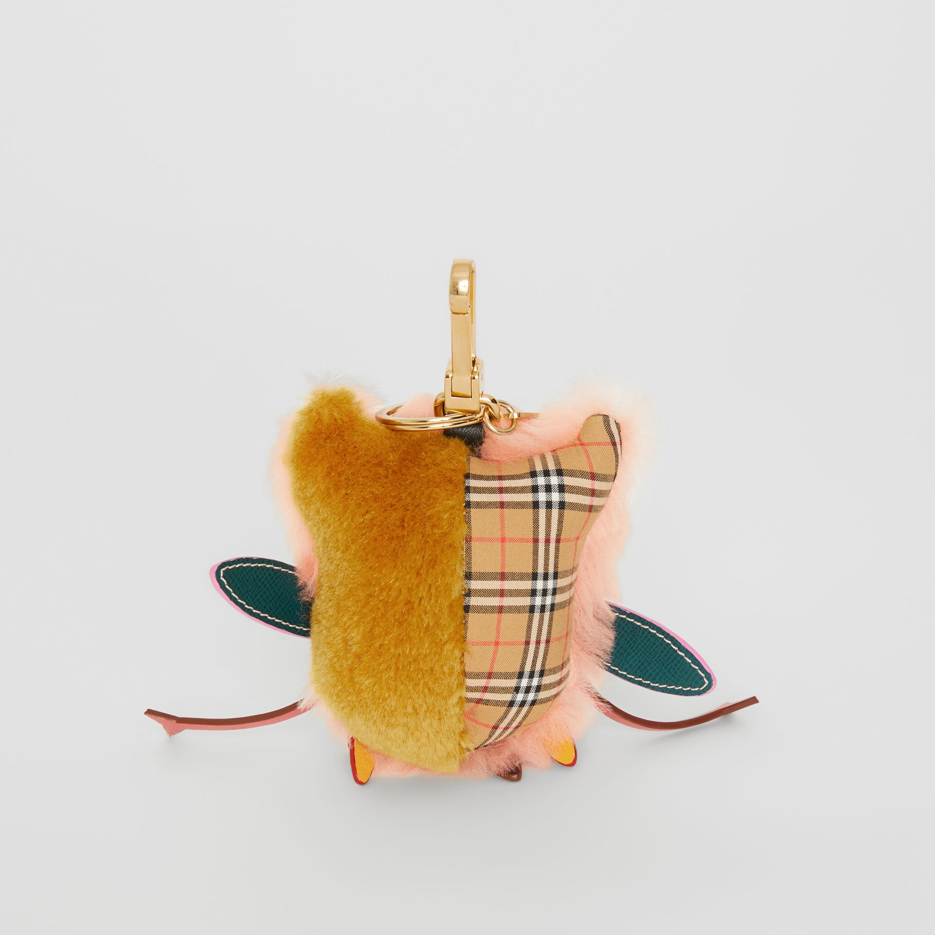 Mavis the Owl Shearling and Leather Charm in Antique Yellow | Burberry United Kingdom - gallery image 4