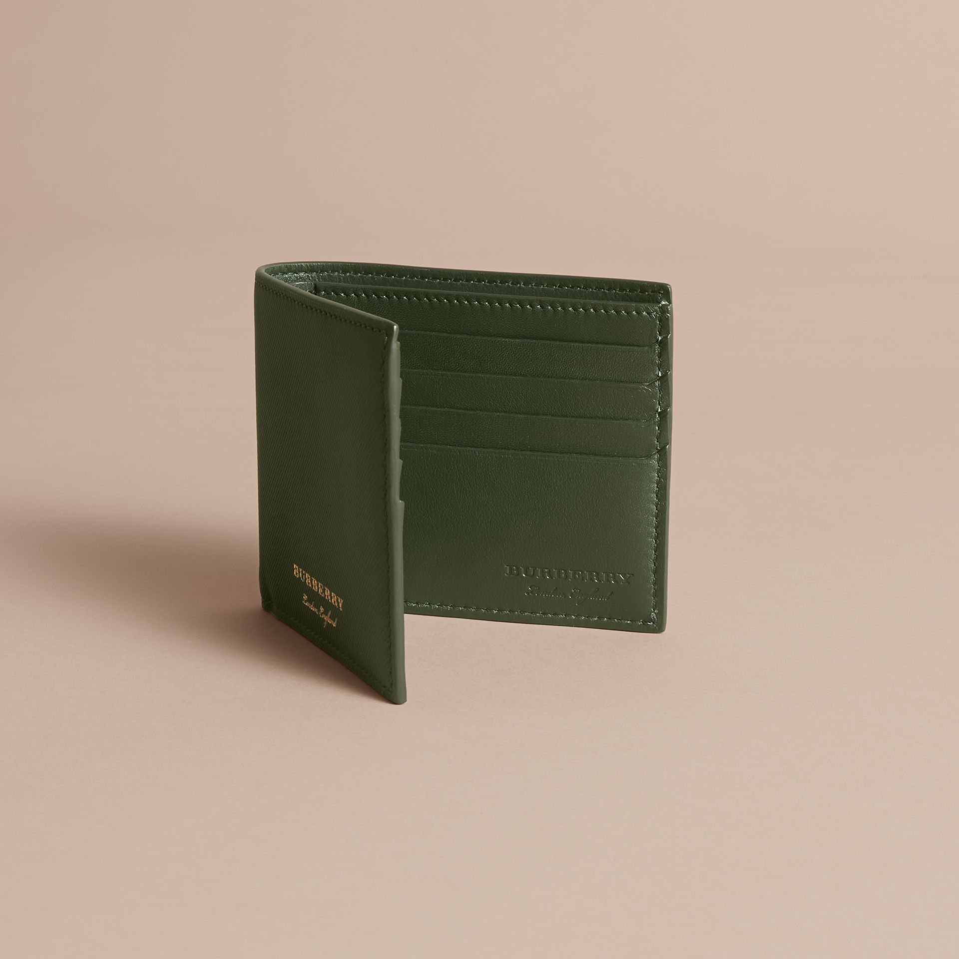 Trench Leather International Bifold Wallet in Dark Forest Green - Men | Burberry Hong Kong - gallery image 5