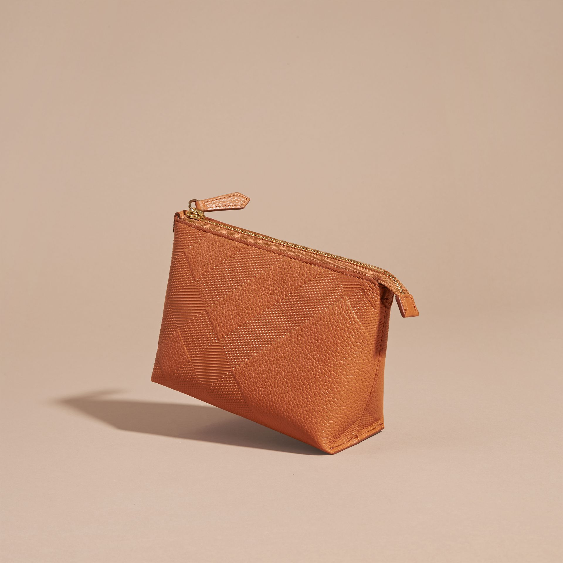 Orange umber Embossed Check Leather Beauty Pouch Orange Umber - gallery image 3