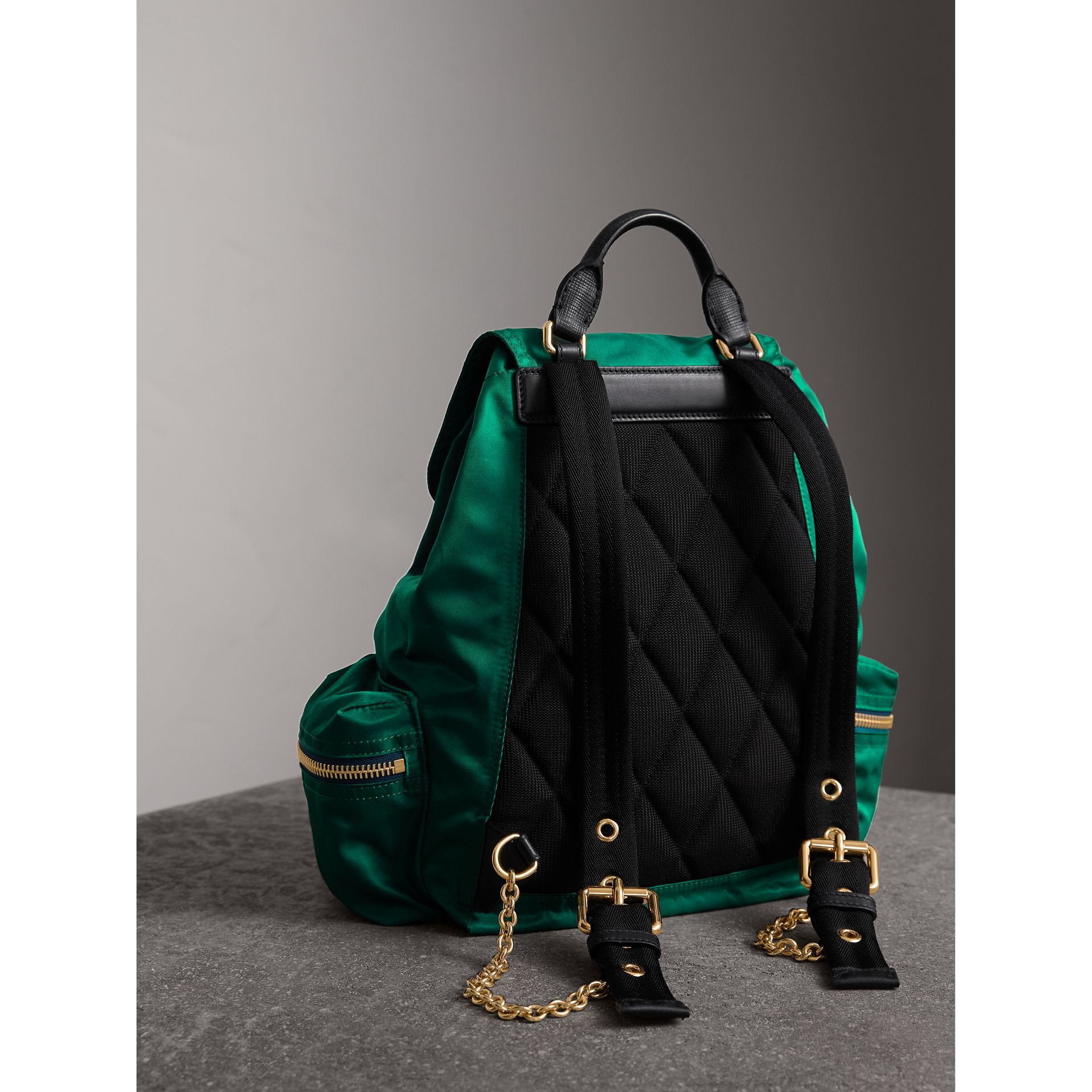 The Medium Rucksack in Technical Nylon and Leather in Pine Green - Women | Burberry - gallery image 4