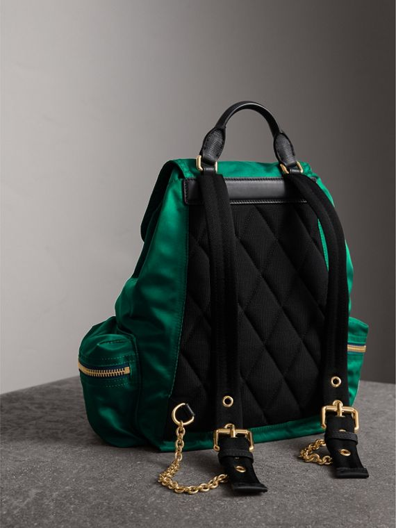 The Medium Rucksack in Technical Nylon and Leather in Pine Green - Women | Burberry - cell image 3