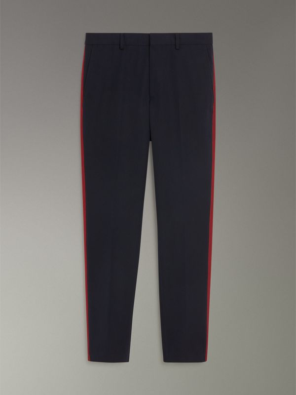 Contrast Stripe Wool Blend Tailored Trousers in Navy - Men | Burberry Singapore - cell image 3