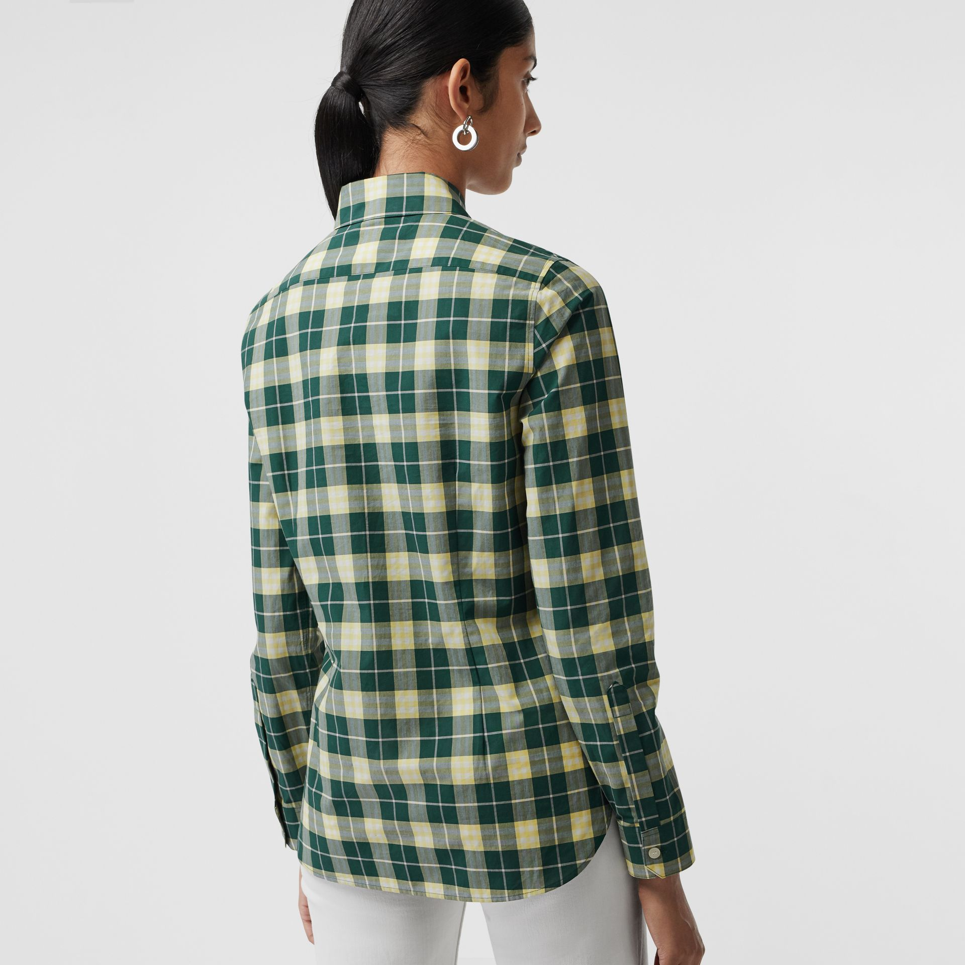 Check Cotton Shirt in Dark Cedar Green - Women | Burberry - gallery image 2
