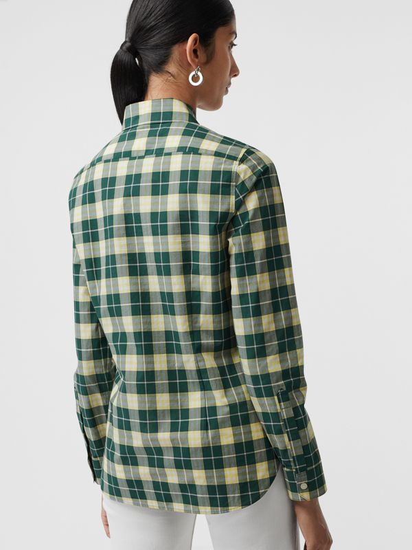 Check Cotton Shirt in Dark Cedar Green - Women | Burberry - cell image 2