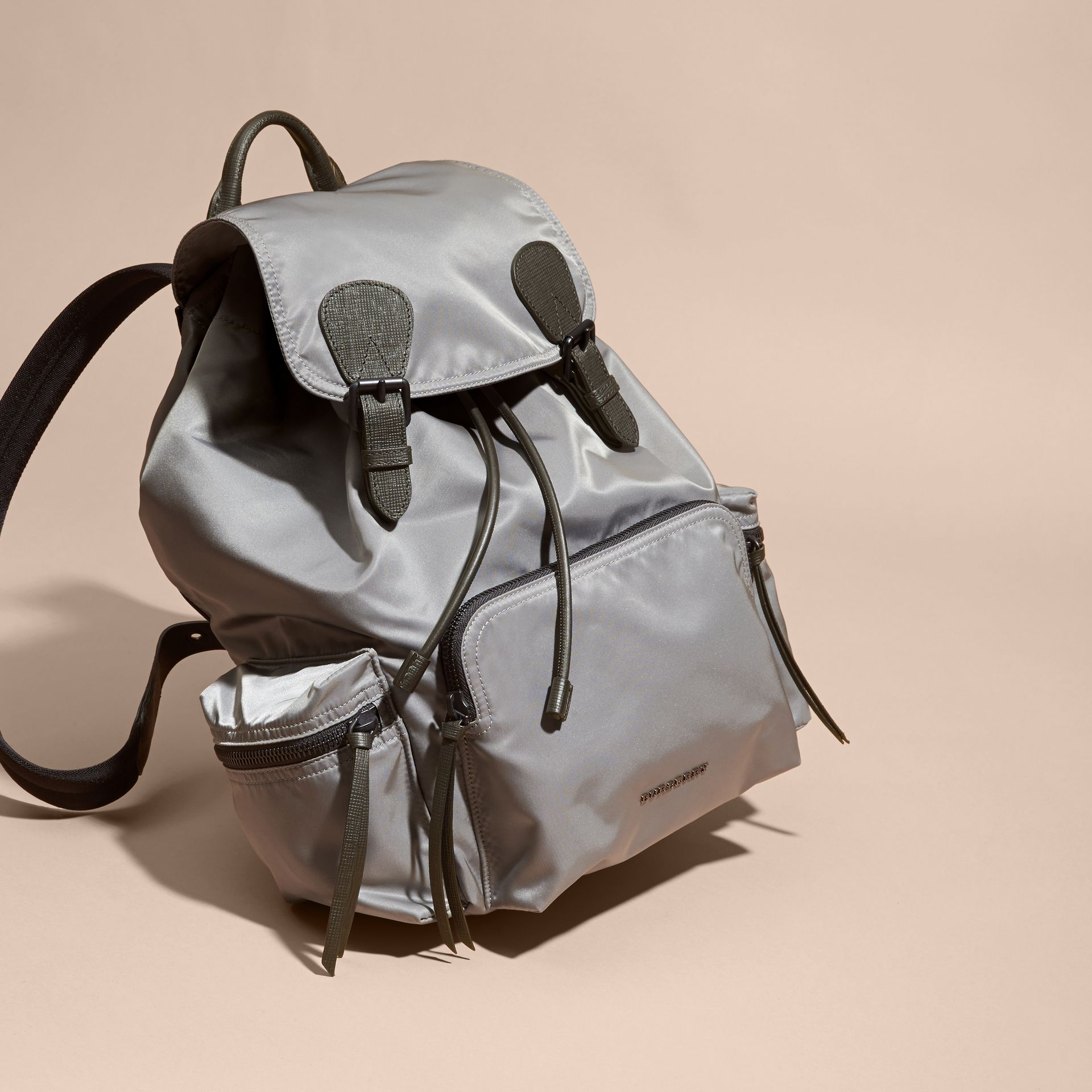 The Large Rucksack in Technical Nylon and Leather Thistle Grey - gallery image 8