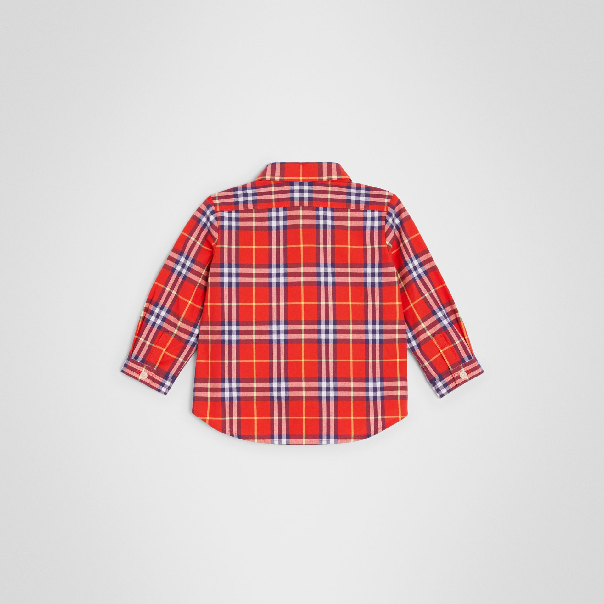 Button-down Collar Check Cotton Shirt in Orange Red - Children | Burberry - gallery image 3