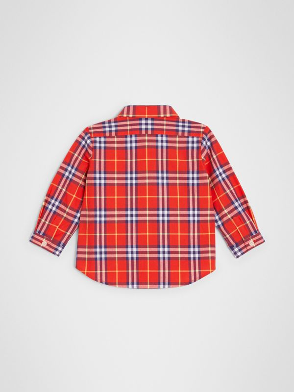 Button-down Collar Check Cotton Shirt in Orange Red - Children | Burberry - cell image 3