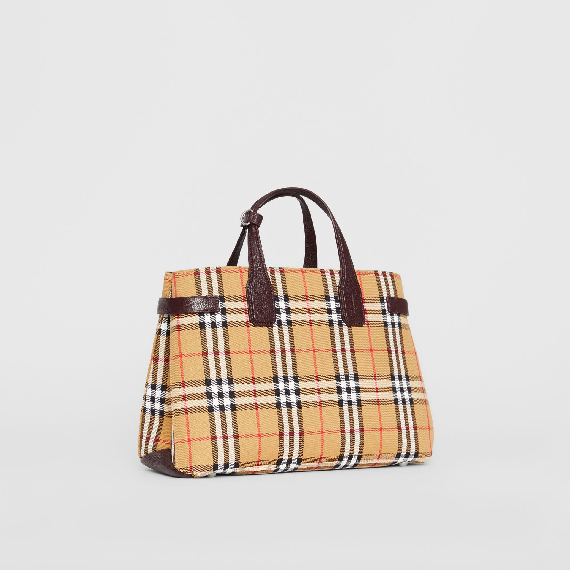 The Medium Banner in Vintage Check and Leather in Deep Claret - Women | Burberry - gallery image 0