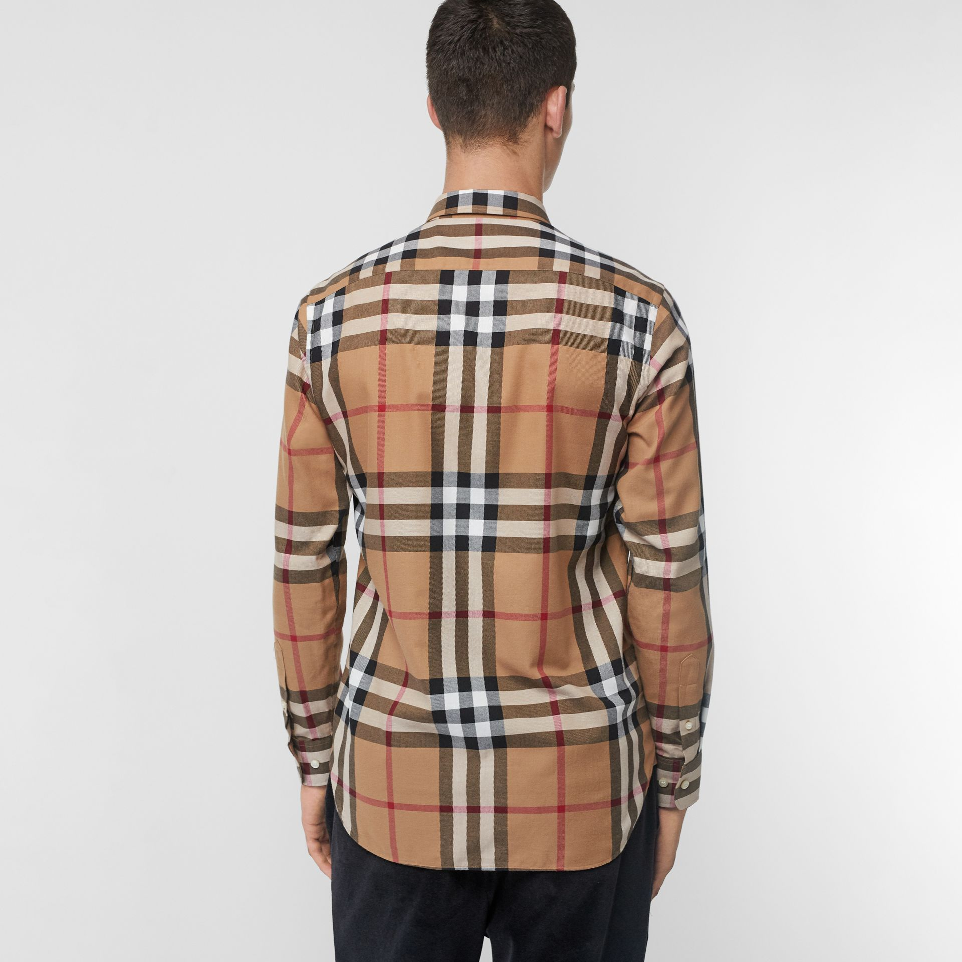 Check Cotton Flannel Shirt in Camel - Men | Burberry United Kingdom - gallery image 2