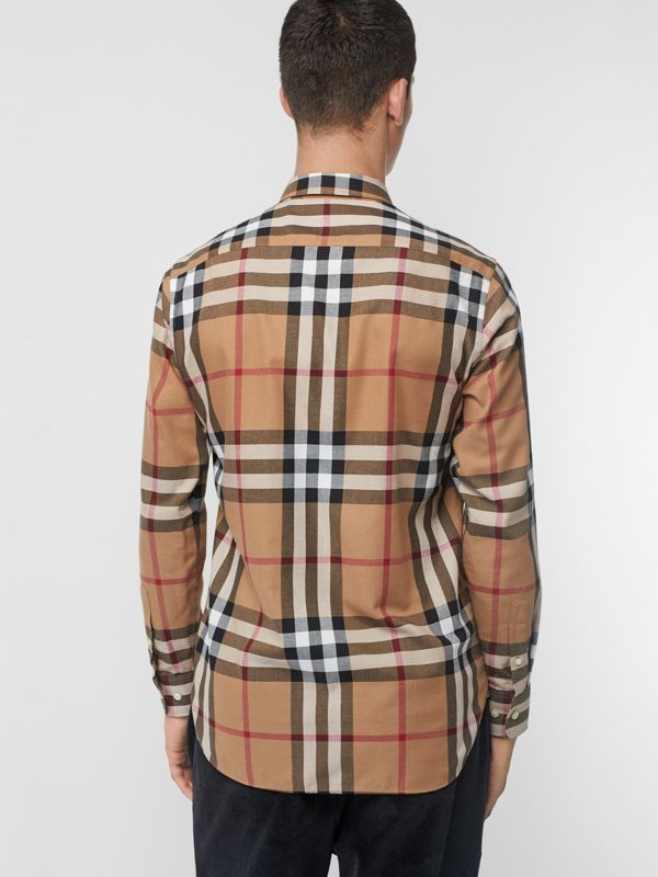 Check Cotton Flannel Shirt in Camel - Men | Burberry - cell image 2