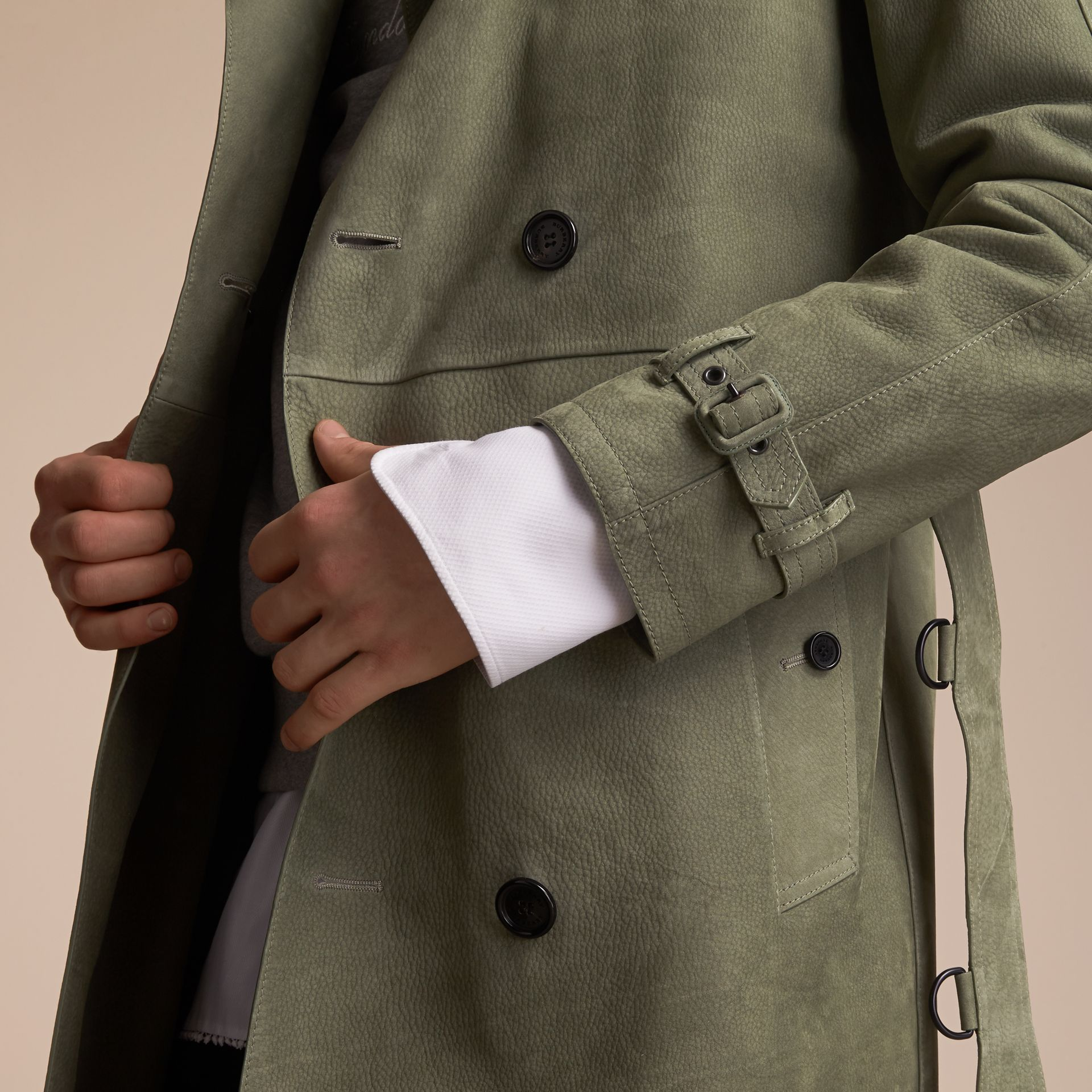 Lightweight Grainy Nubuck Trench Coat in Khaki Green - Men | Burberry - gallery image 5