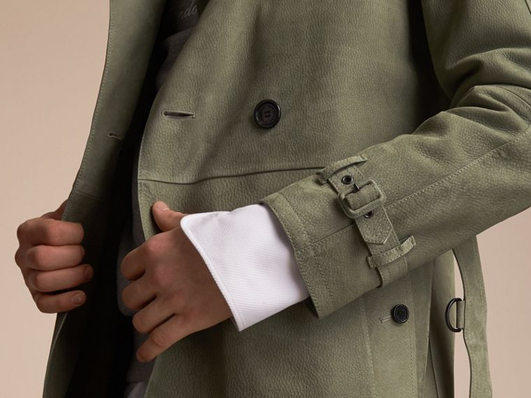 Lightweight Grainy Nubuck Trench Coat in Khaki Green - Men | Burberry - cell image 4