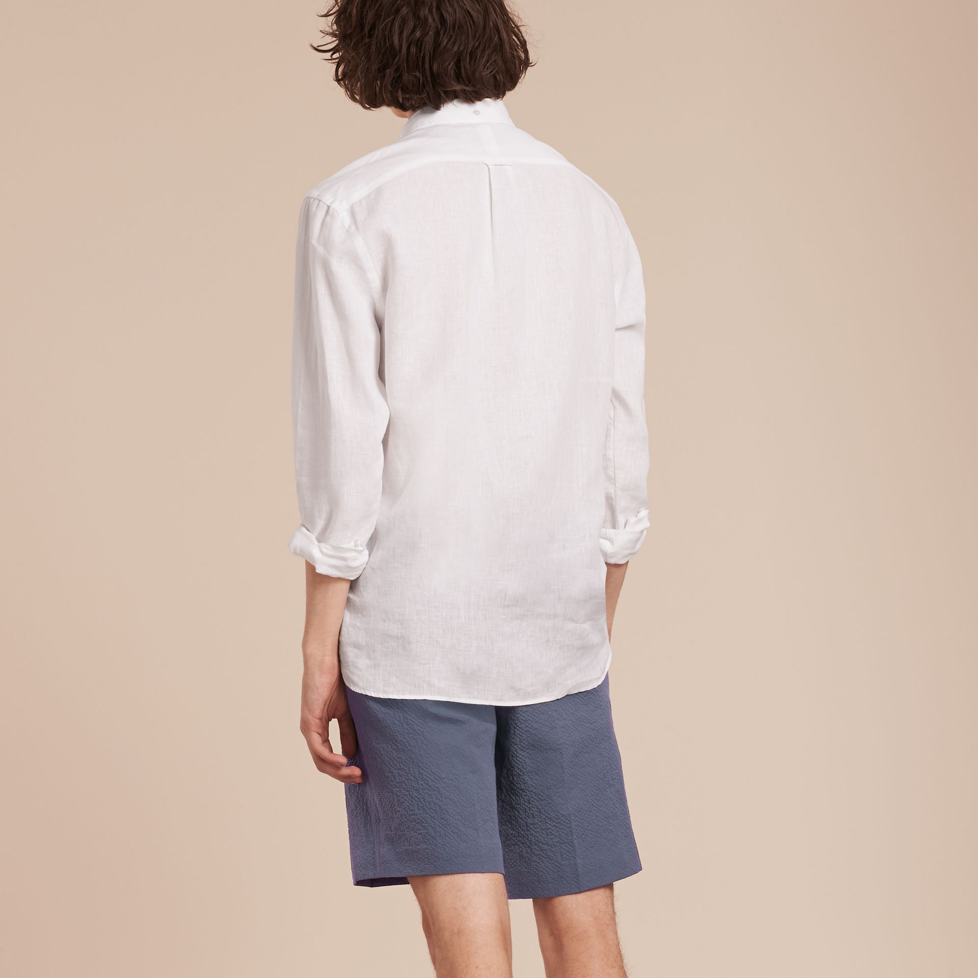 Tailored Stretch Cotton Shorts Slate Blue - gallery image 2