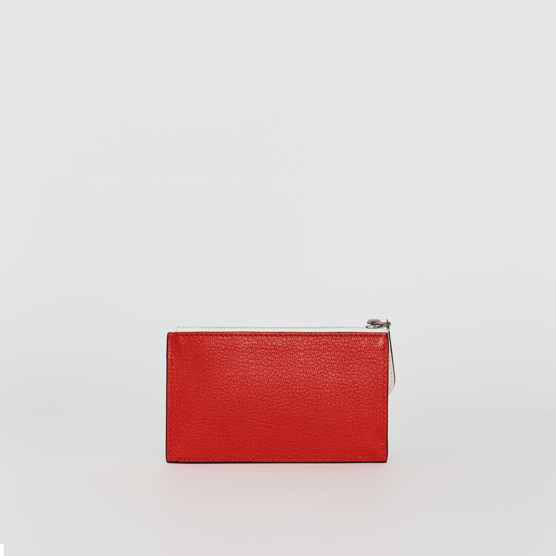 Two-tone Leather Zip Card Case in Bright Red | Burberry - gallery image 4