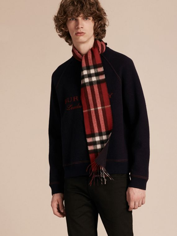 Parade red/navy The Slim Reversible Cashmere Scarf in Check Parade Red/navy - cell image 2