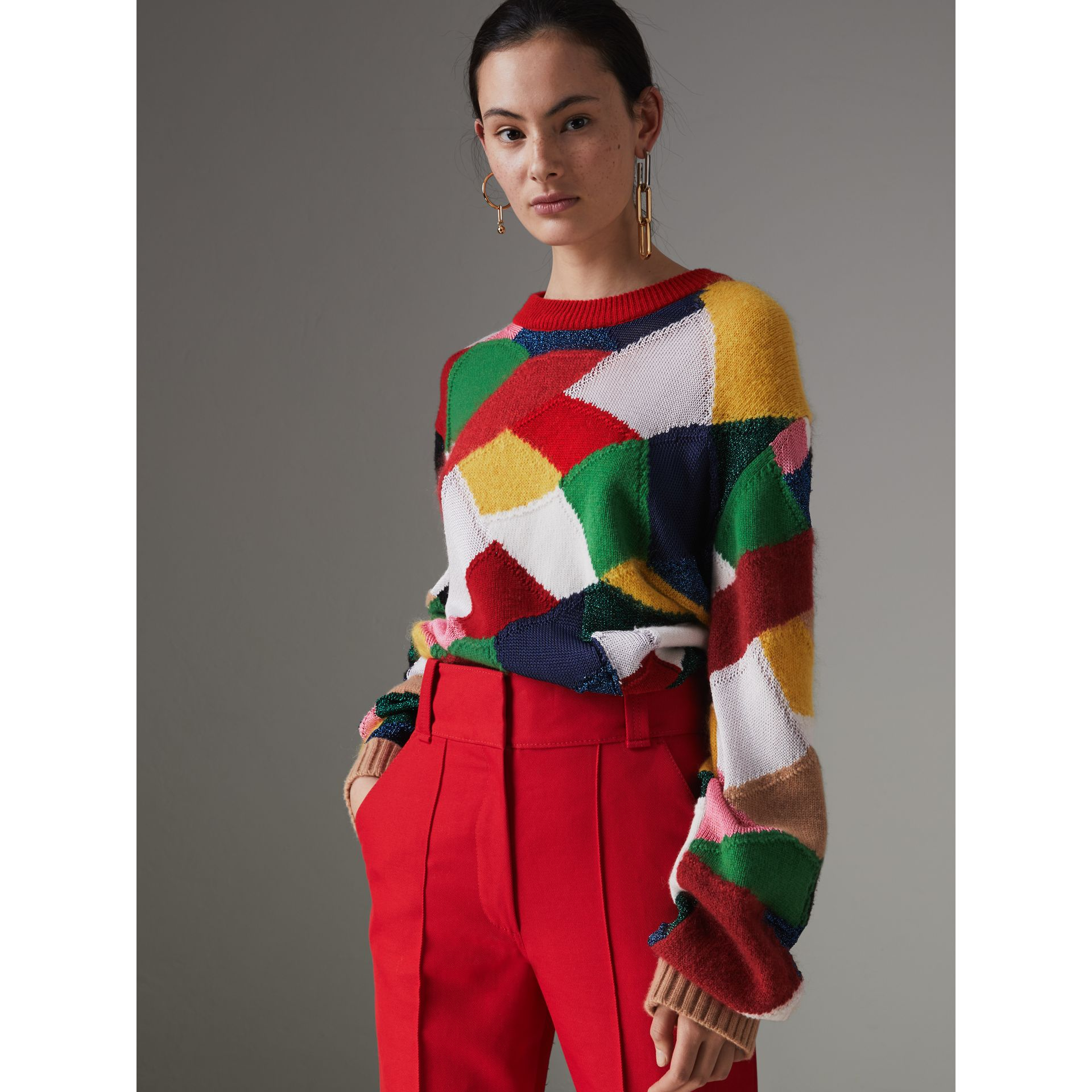 Patchwork Cashmere Wool Blend Sweater in Military Red - Women | Burberry - gallery image 4