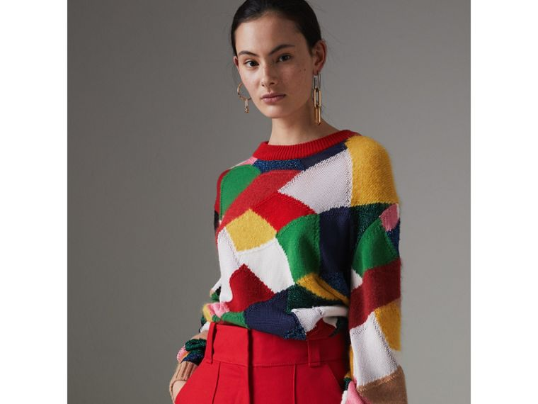Patchwork Cashmere Wool Blend Sweater in Military Red - Women | Burberry - cell image 4
