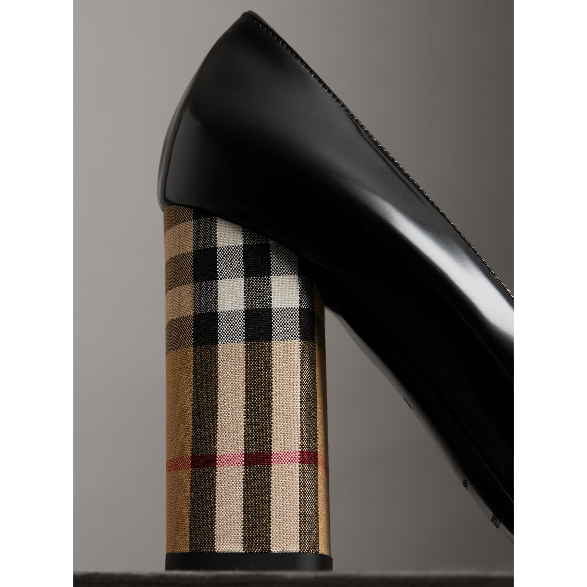 Patent Leather and Vintage Check Block-heel Pumps in Black - Women | Burberry - gallery image 1