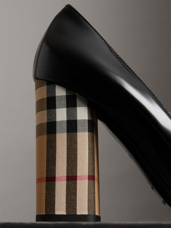 Patent Leather and Vintage Check Block-heel Pumps in Black - Women | Burberry Australia - cell image 1