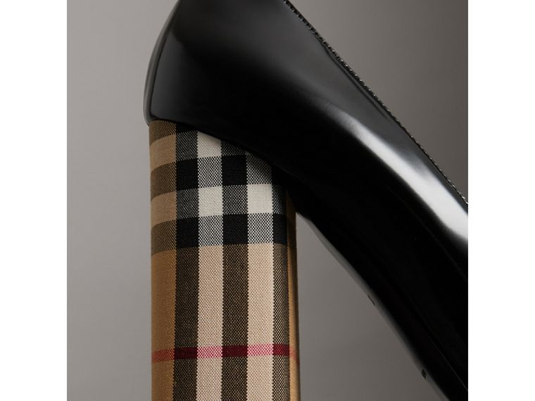 Patent Leather and Vintage Check Block-heel Pumps in Black - Women | Burberry - cell image 1