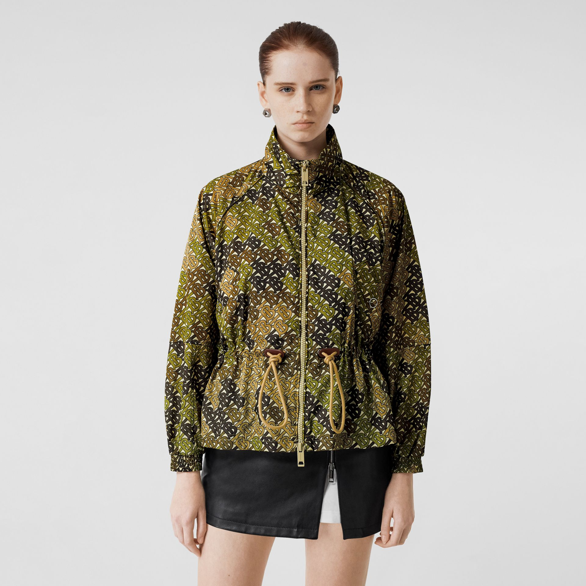Monogram Print Nylon Funnel Neck Jacket in Khaki Green - Women | Burberry - gallery image 0