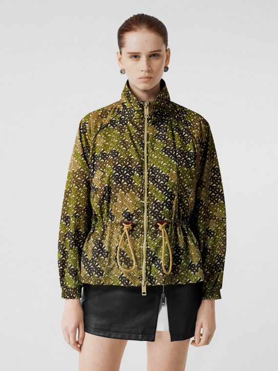 Monogram Print Nylon Funnel Neck Jacket in Khaki Green