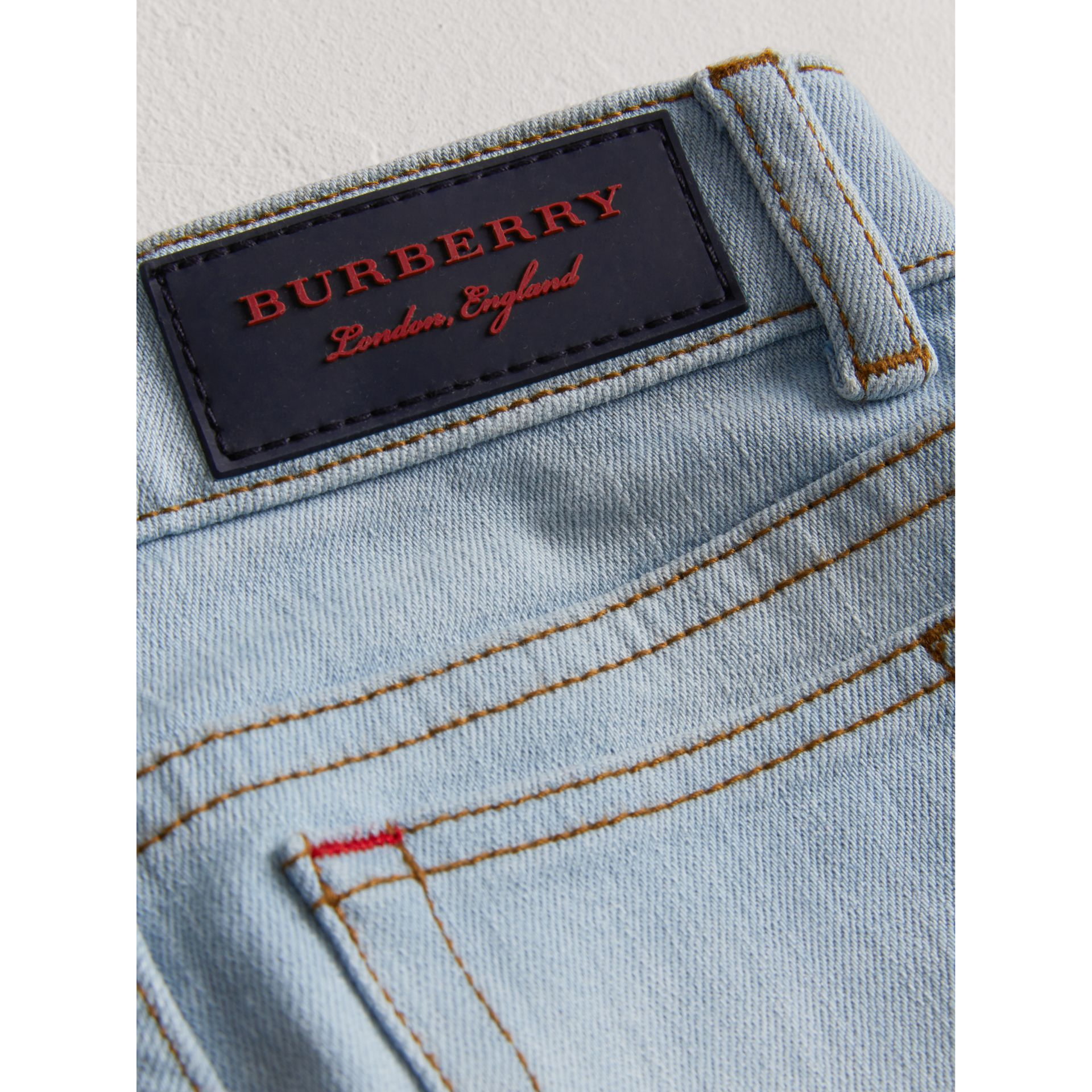 Relaxed Fit Stretch Jeans in Light Blue - Boy | Burberry United States - gallery image 1