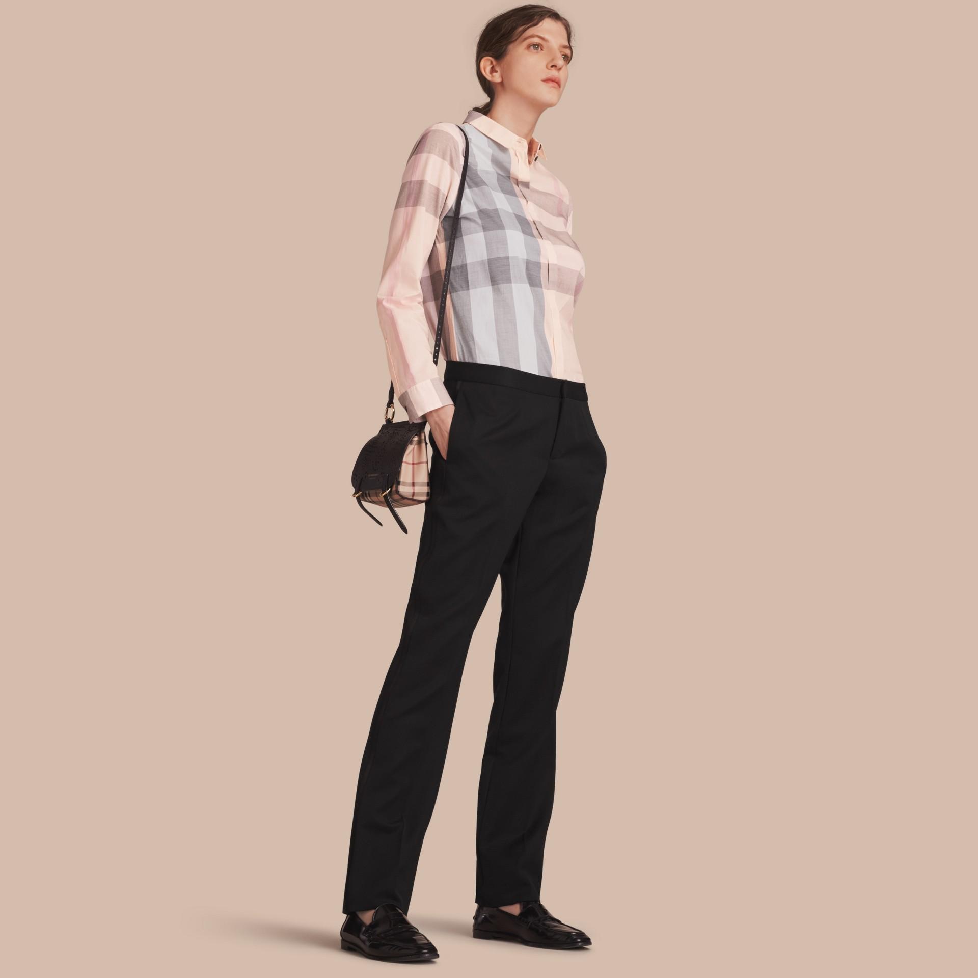 Check Cotton Shirt Apricot - gallery image 1